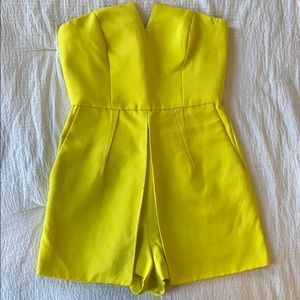 Topshop Lime Green / Yellow Bandeau Skort Romper